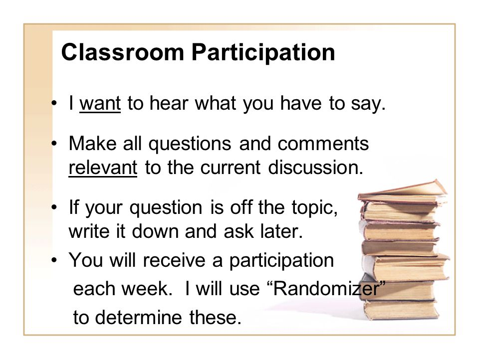 Classroom Participation I want to hear what you have to say.