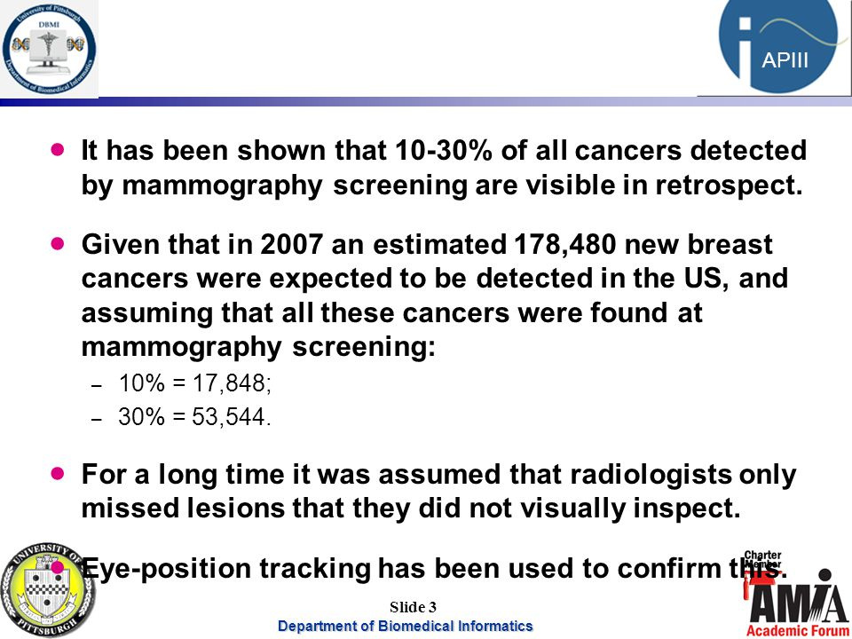 Department of Biomedical Informatics 3 APIII Slide 3  It has been shown that 10-30% of all cancers detected by mammography screening are visible in retrospect.