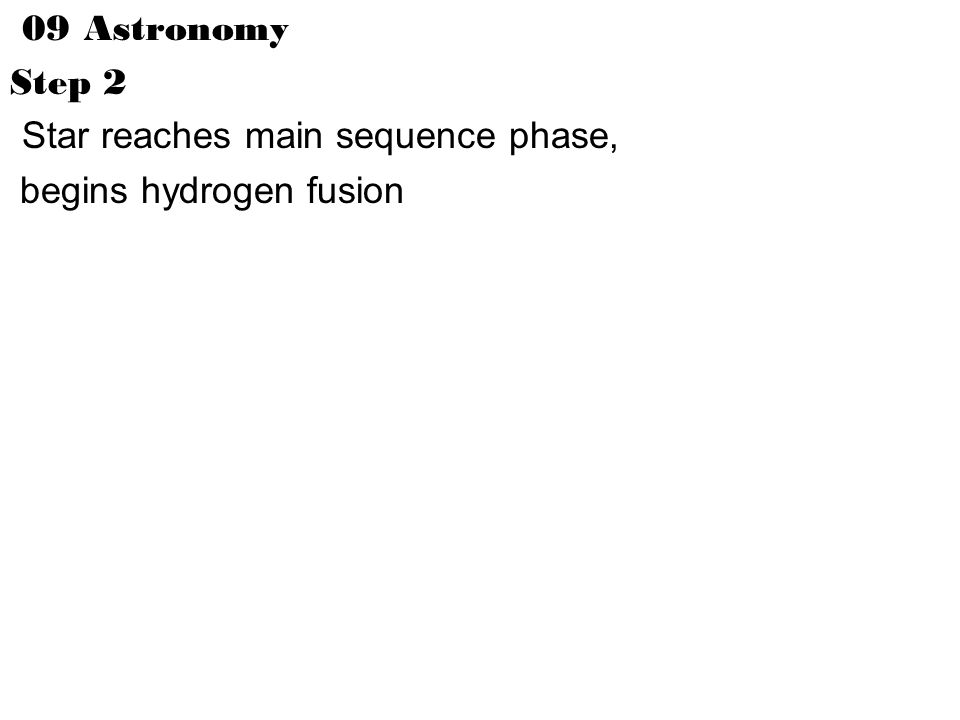 09 Astronomy Step 2 Star reaches main sequence phase, begins hydrogen fusion