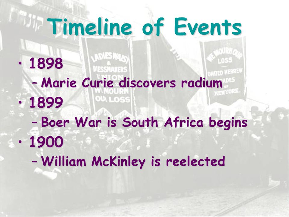 Timeline of Events 19011901 –McKinley is assassinated, Theodore Roosevelt becomes president –Commonwealth of Australia is created