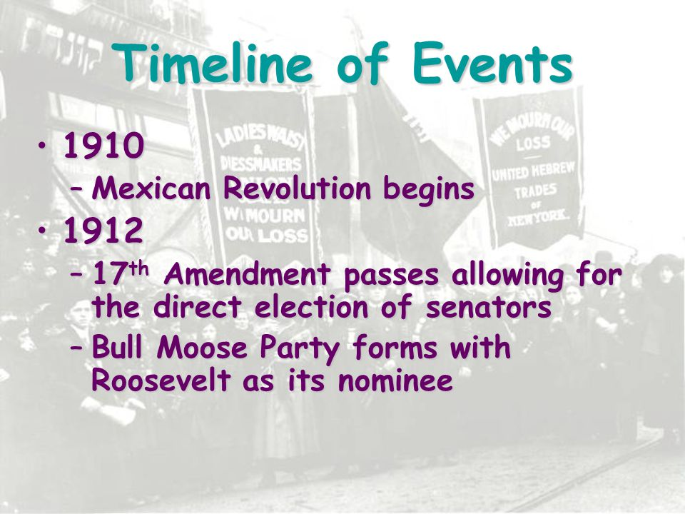 Timeline of Events 19121912 –Woodrow Wilson is elected president 19131913 –China's Qin Dynasty topples –Federal Reserve Act passes