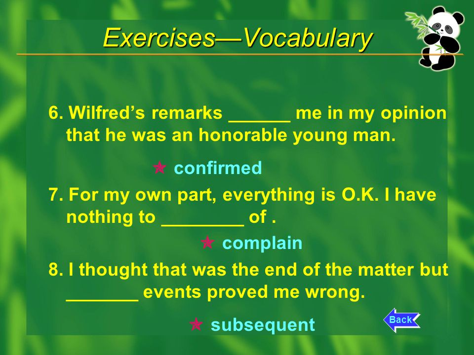 Exercises—Vocabulary 6.