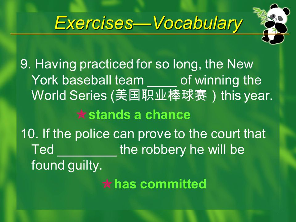 Exercises—Vocabulary 9.