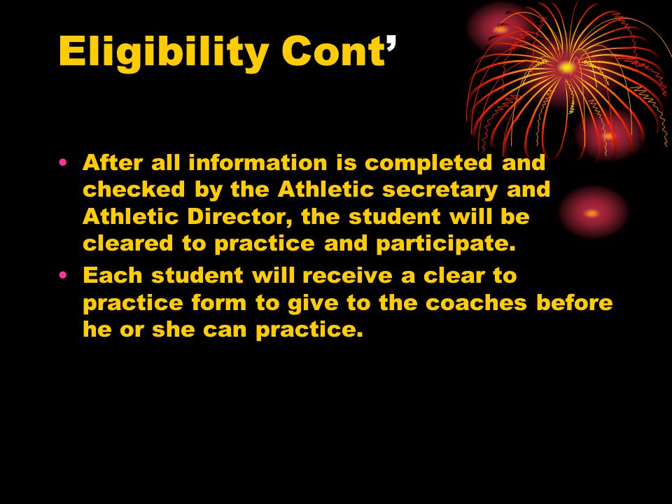 Academic Eligibility Requirements for NCAA If you are a senior and you wish to participate in athletics or receive an athletic scholarship during your first year of college you must: Graduate from high school Earn a combined SAT or ACT score that matches your core-course grade point average.
