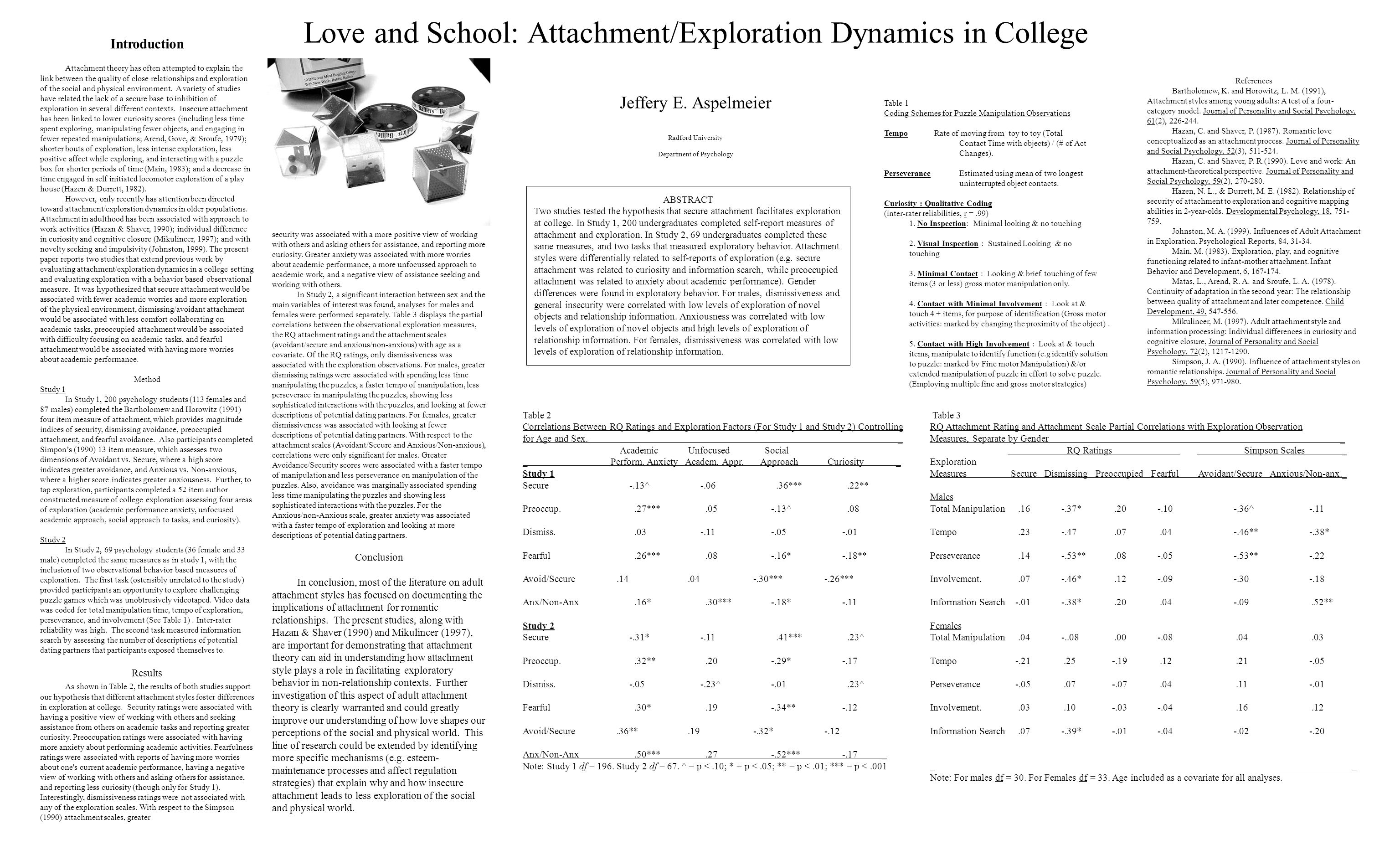 Love and School: Attachment/Exploration Dynamics in College Jeffery E. Aspelmeier Radford University Department of Psychology Introduction Attachment
