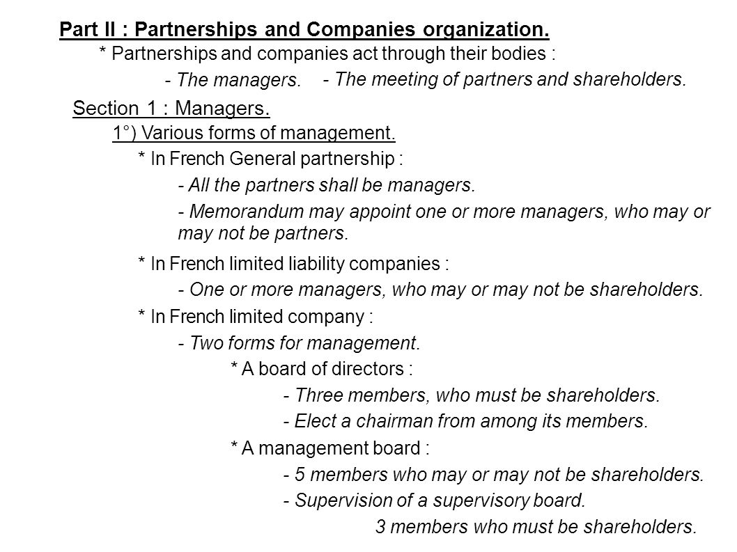Part II : Partnerships and Companies organization.