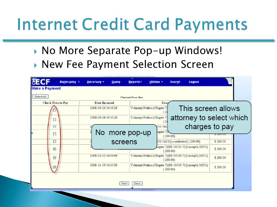  No More Separate Pop-up Windows!  New Fee Payment Selection Screen