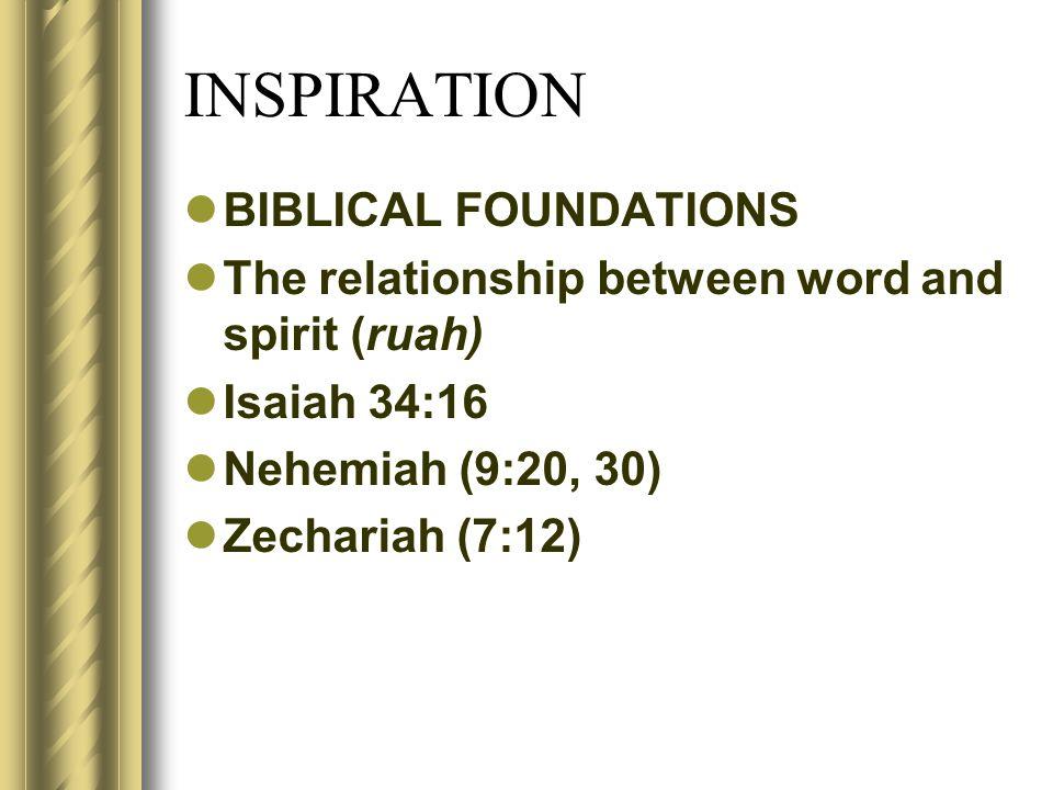 INSPIRATION BIBLICAL FOUNDATIONS The relationship between word and spirit (ruah) Isaiah 34:16 Nehemiah (9:20, 30) Zechariah (7:12)