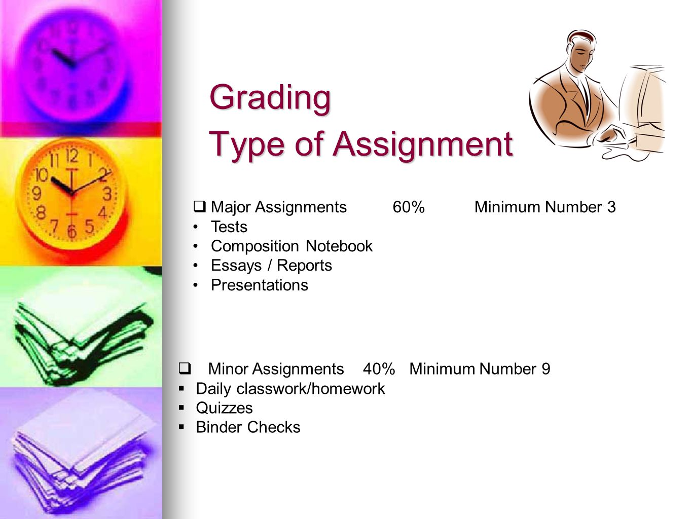 Type of Assignment  Major Assignments 60% Minimum Number 3 Tests Composition Notebook Essays / Reports Presentations  Minor Assignments 40% Minimum