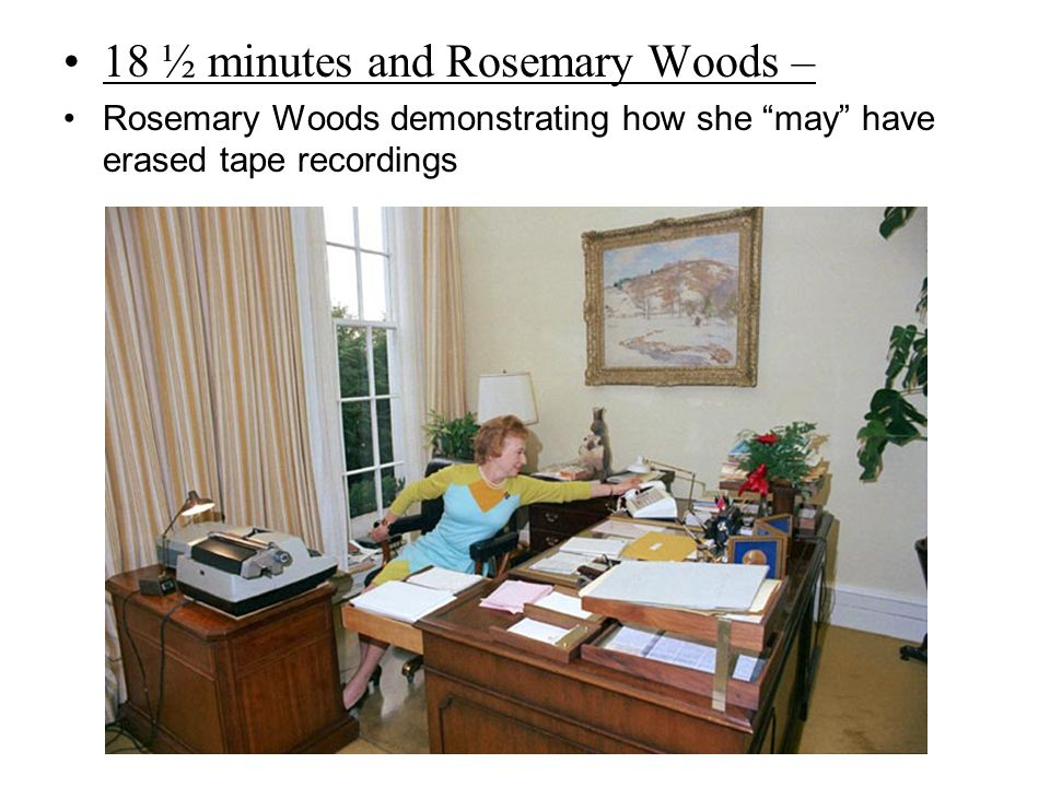 """18 ½ minutes and Rosemary Woods – Rosemary Woods demonstrating how she """"may"""" have erased tape recordings"""