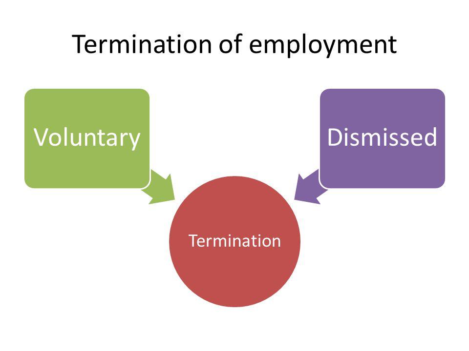 Termination of employment Termination VoluntaryDismissed