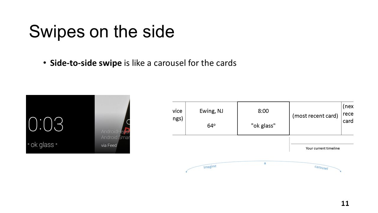 Swipes on the side Side-to-side swipe is like a carousel for the cards 11