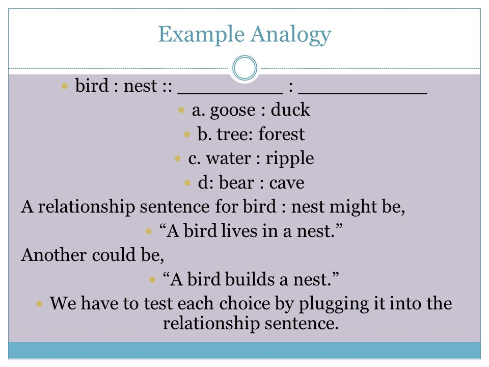 Example Analogy bird : nest :: _________ : ___________ a.