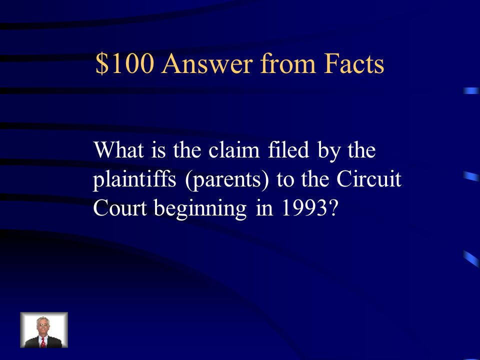 $100 Answer from Facts What is the claim filed by the plaintiffs (parents) to the Circuit Court beginning in 1993?