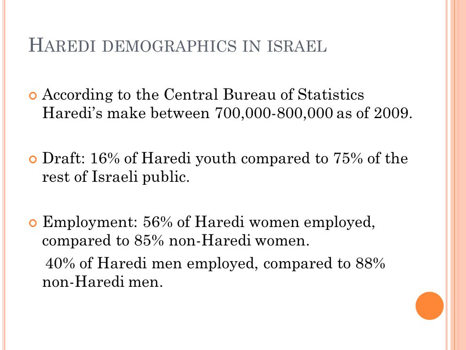 H AREDI DEMOGRAPHICS IN ISRAEL According to the Central Bureau of Statistics Haredi's make between 700,000-800,000 as of 2009.