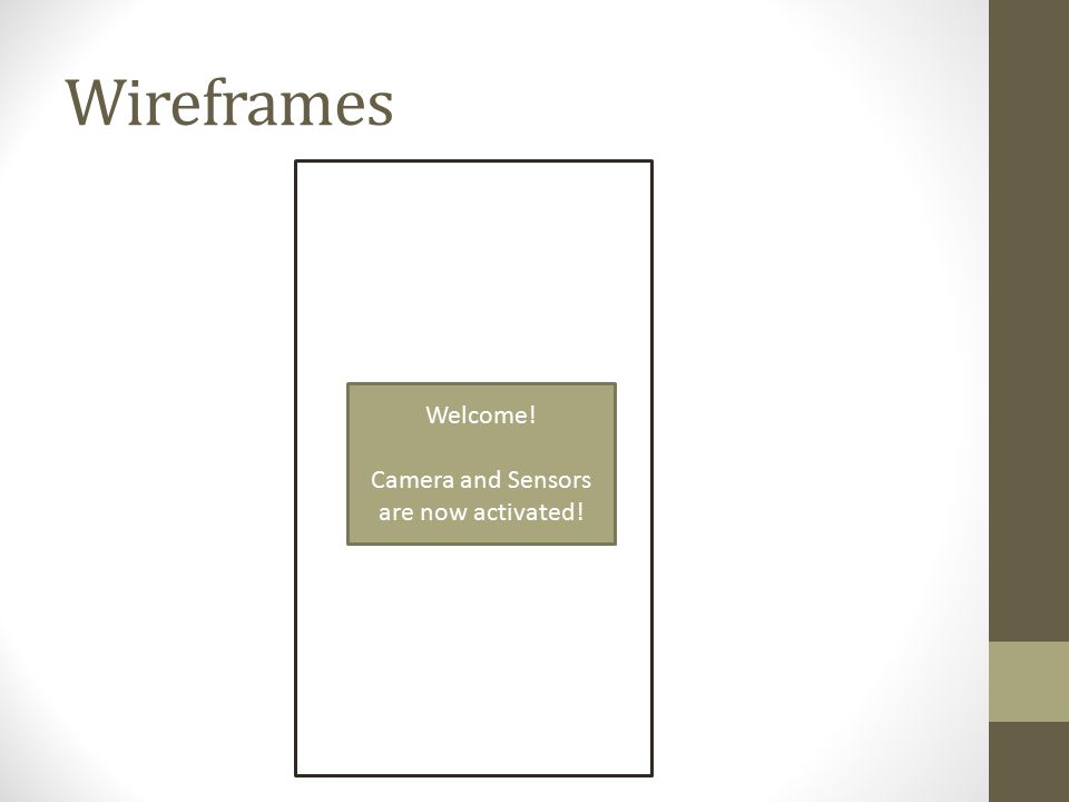 Wireframes Welcome! Camera and Sensors are now activated!