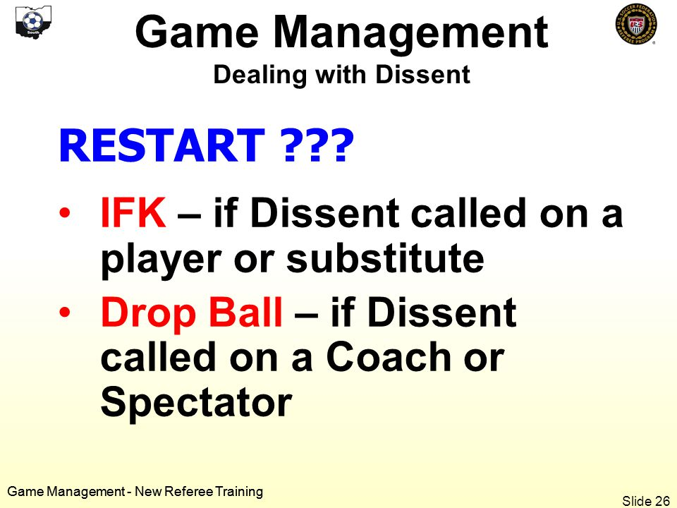 Game Management - New Referee Training RESTART .