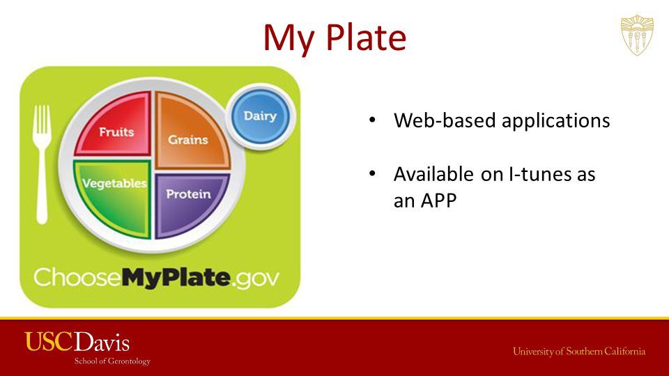 My Plate Web-based applications Available on I-tunes as an APP
