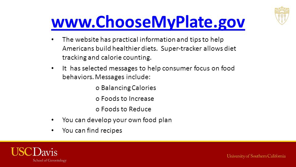 www.ChooseMyPlate.gov The website has practical information and tips to help Americans build healthier diets.