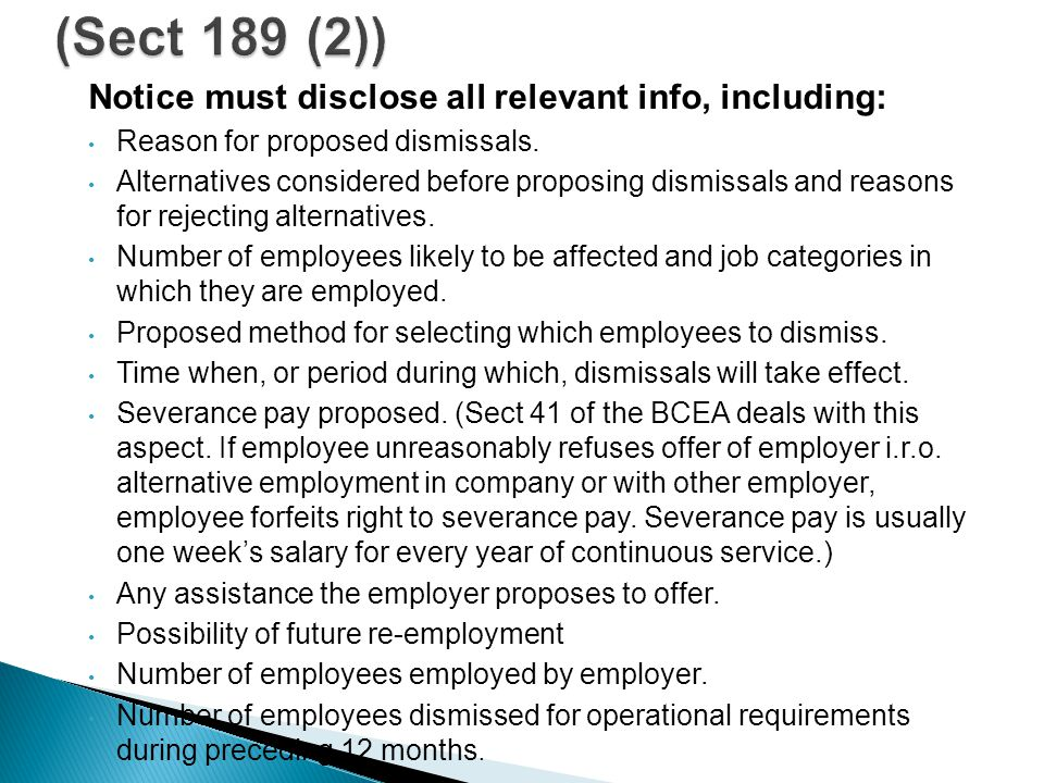 Notice must disclose all relevant info, including: Reason for proposed dismissals.