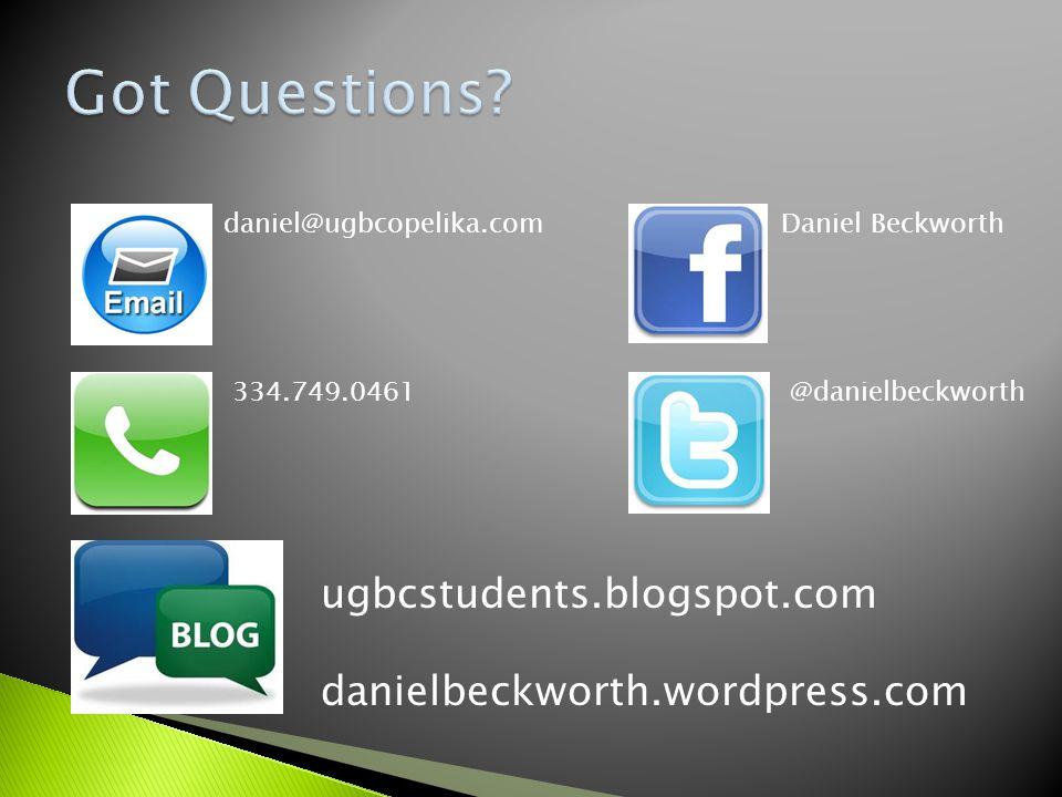 dd daniel@ugbcopelika.com 334.749.0461 Daniel Beckworth @danielbeckworth ugbcstudents.blogspot.com danielbeckworth.wordpress.com