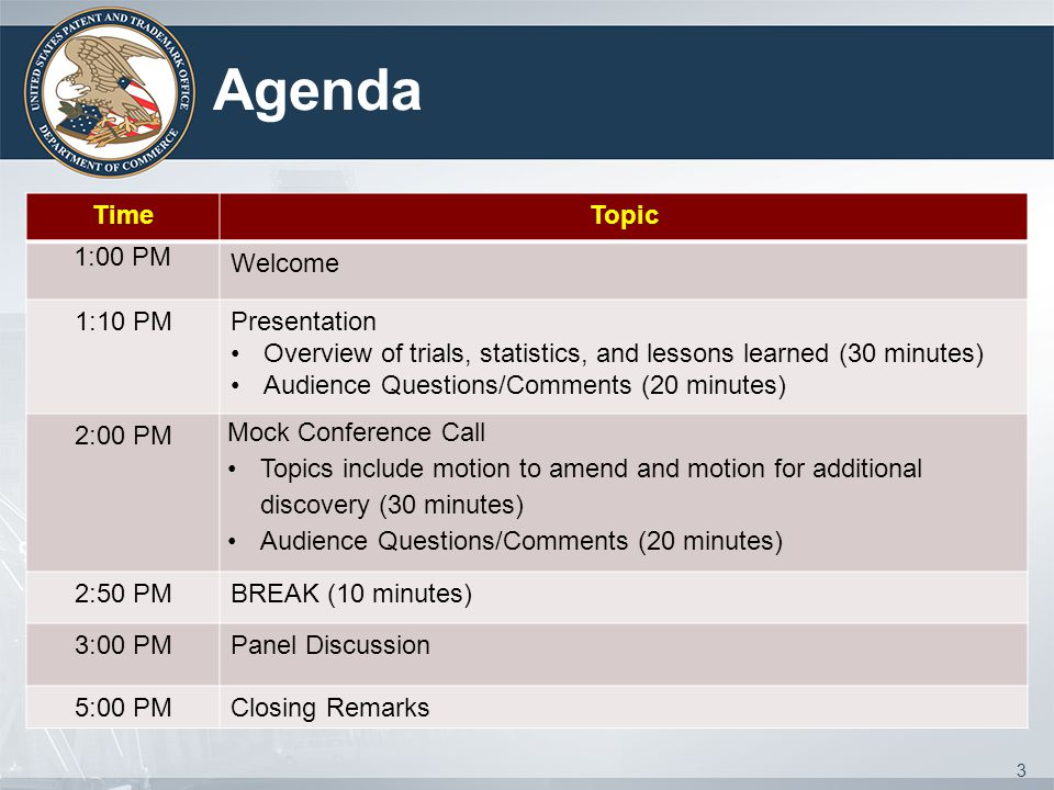 Agenda TimeTopic 1:00 PM Welcome 1:10 PMPresentation Overview of trials, statistics, and lessons learned (30 minutes) Audience Questions/Comments (20 minutes) 2:00 PM Mock Conference Call Topics include motion to amend and motion for additional discovery (30 minutes) Audience Questions/Comments (20 minutes) 2:50 PMBREAK (10 minutes) 3:00 PMPanel Discussion 5:00 PMClosing Remarks 3