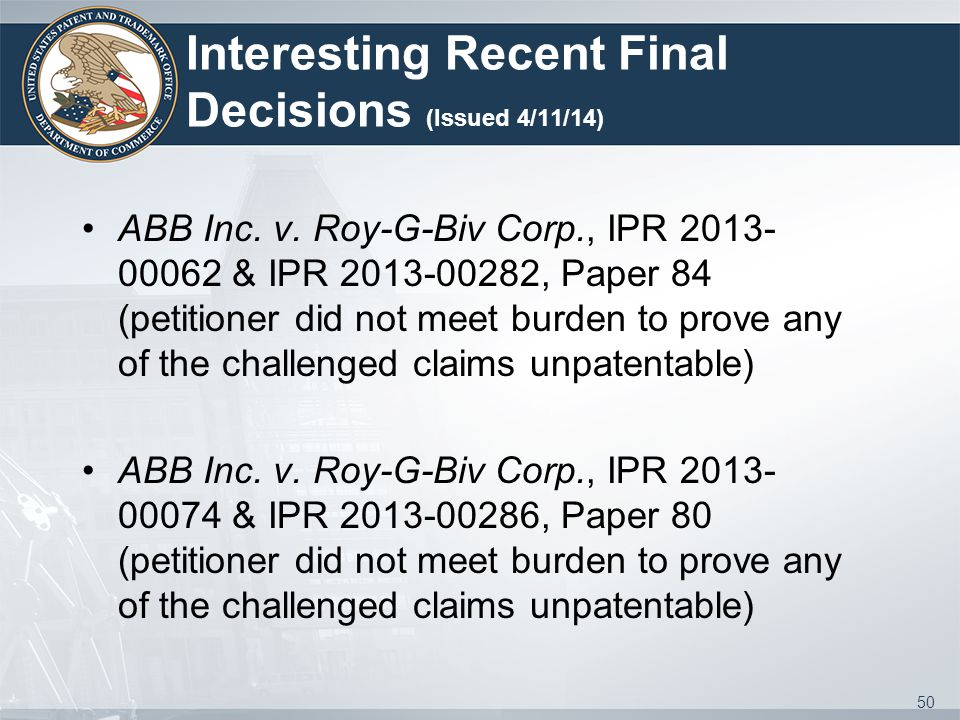 Interesting Recent Final Decisions (Issued 4/11/14) ABB Inc.