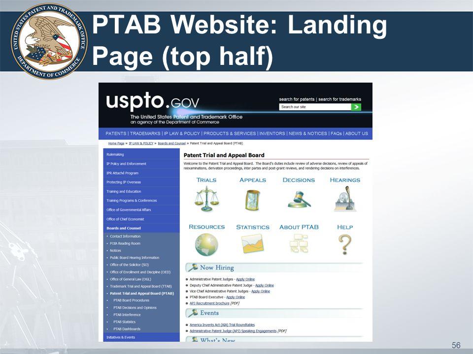 PTAB Website: Landing Page (top half) 56