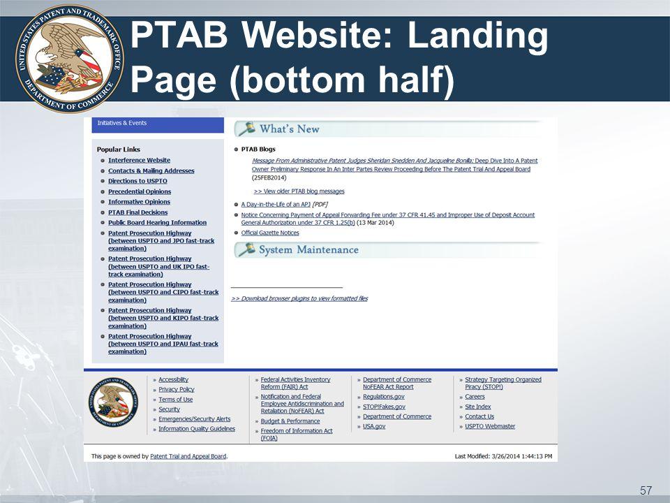 PTAB Website: Landing Page (bottom half) 57