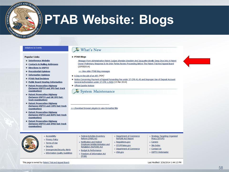 PTAB Website: Blogs 58