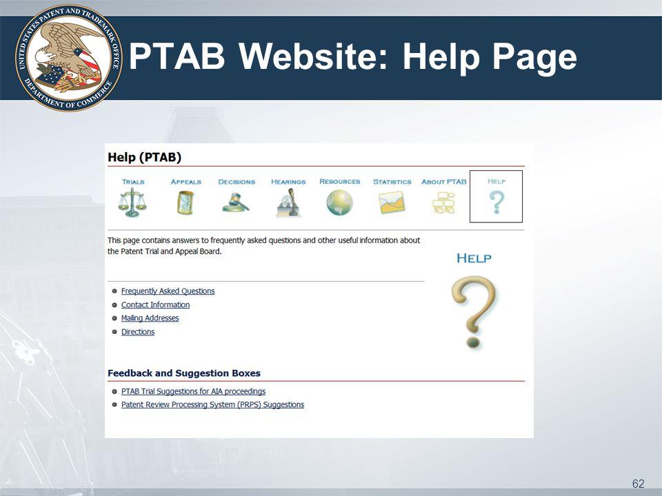 PTAB Website: Help Page 62