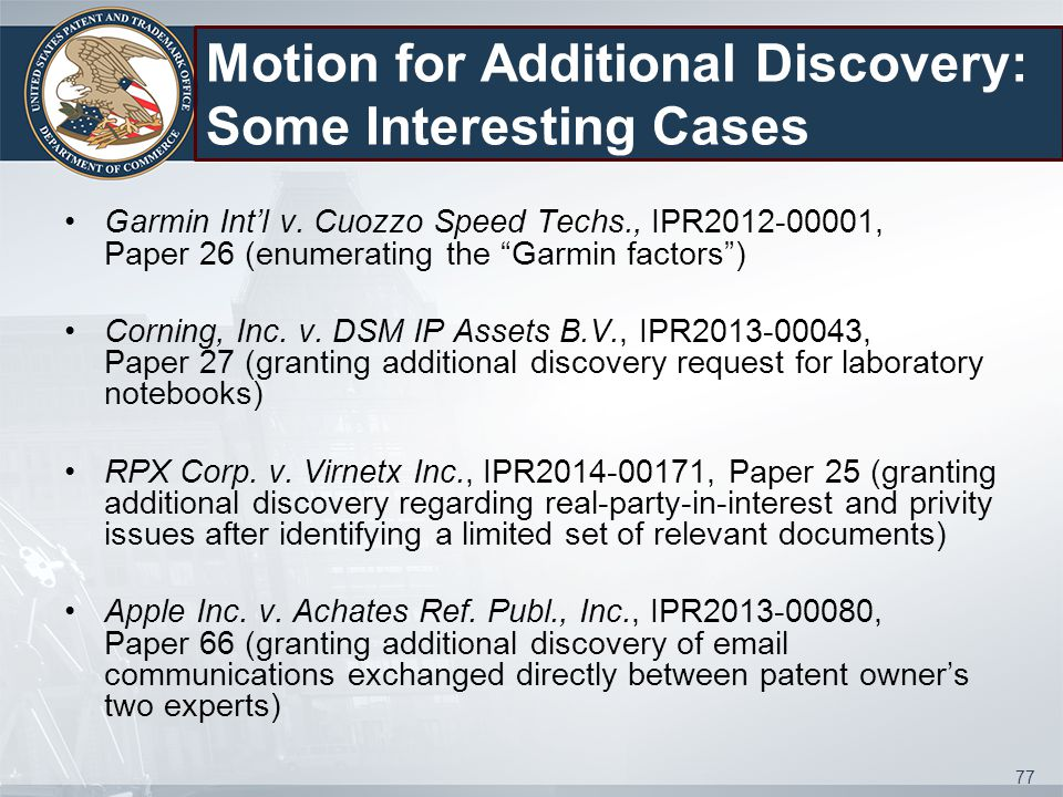 Motion for Additional Discovery: Some Interesting Cases Garmin Int'l v.