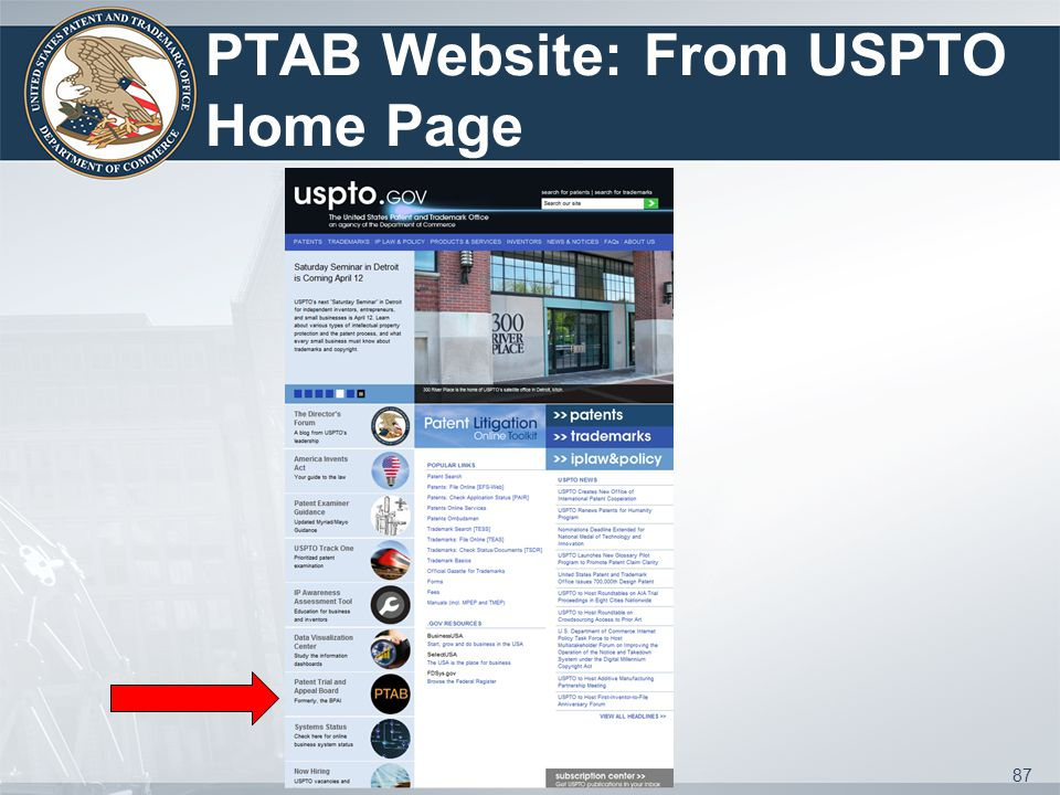 PTAB Website: From USPTO Home Page 87