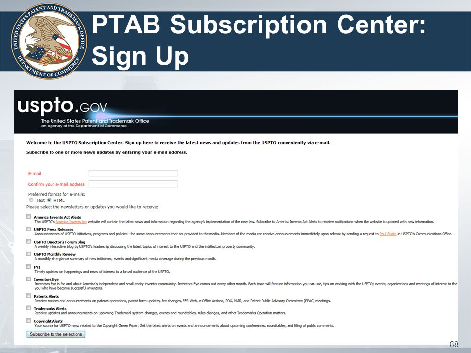 PTAB Subscription Center: Sign Up 88