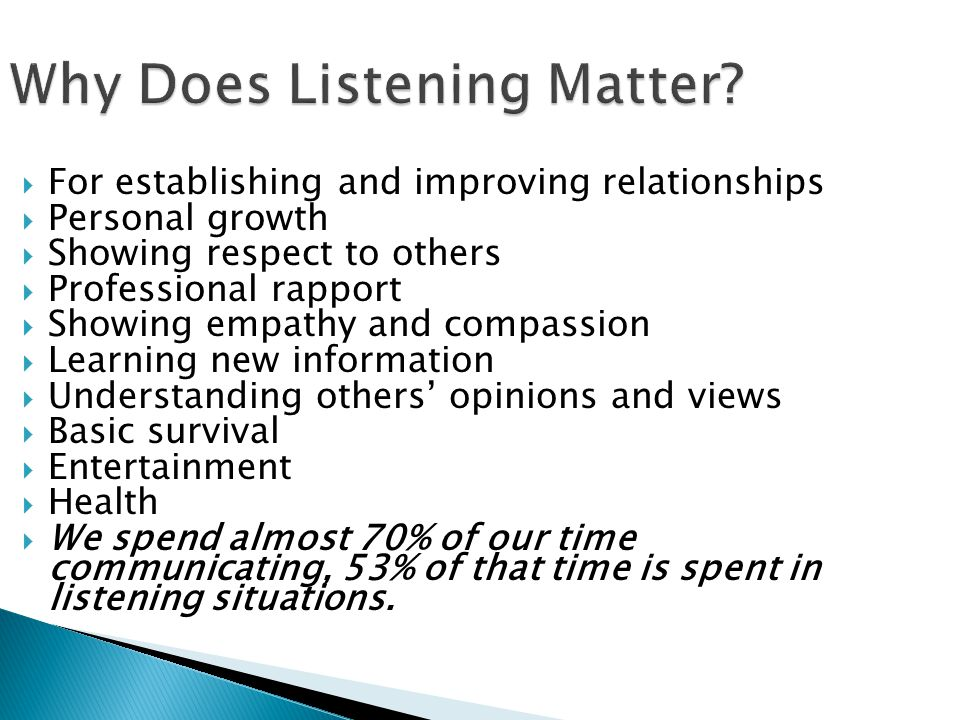 Why Does Listening Matter.