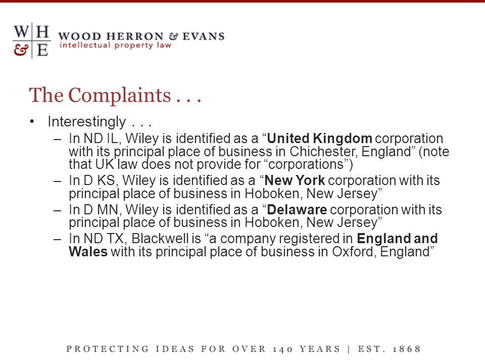 The Complaints... Interestingly...