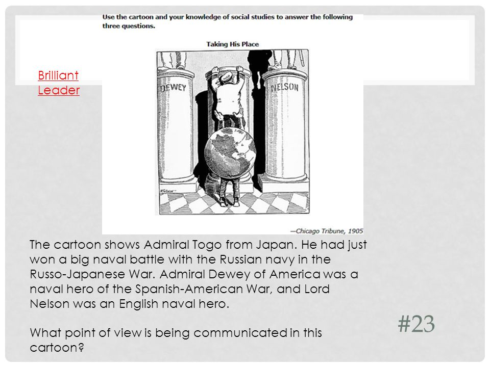 #23 The cartoon shows Admiral Togo from Japan.
