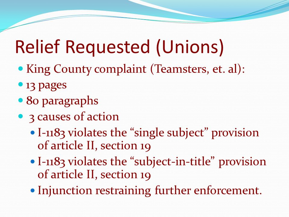 Relief Requested (Unions) King County complaint (Teamsters, et.