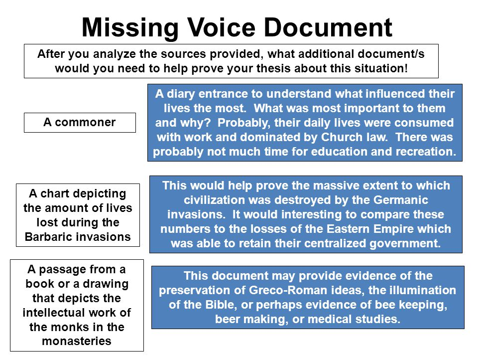 Missing Voice Document After you analyze the sources provided, what additional document/s would you need to help prove your thesis about this situation.