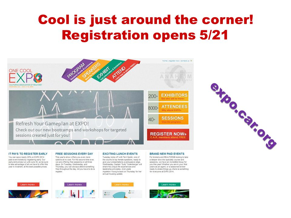 Cool is just around the corner! Registration opens 5/21 expo.car.org