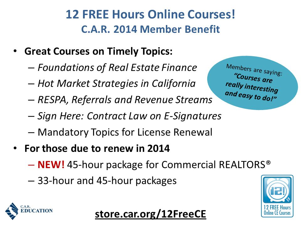 12 FREE Hours Online Courses. C.A.R.