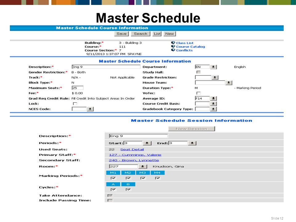Master Schedule Slide 12