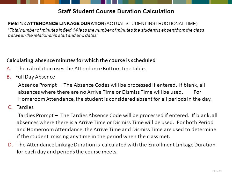 Staff Student Course Duration Calculation Slide 28 Calculating absence minutes for which the course is scheduled A.The calculation uses the Attendance Bottom Line table.