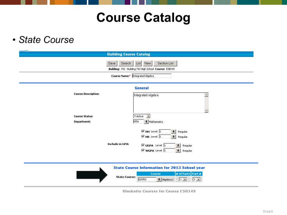 Course Catalog State Course Slide 5