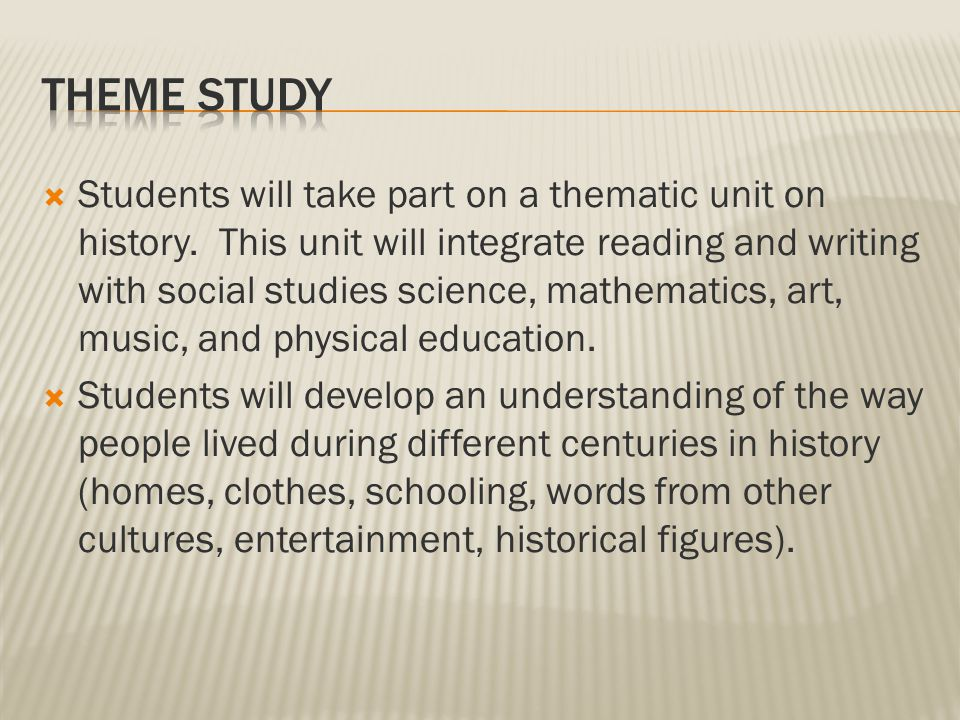  Students will read various literature focusing on certain time periods.