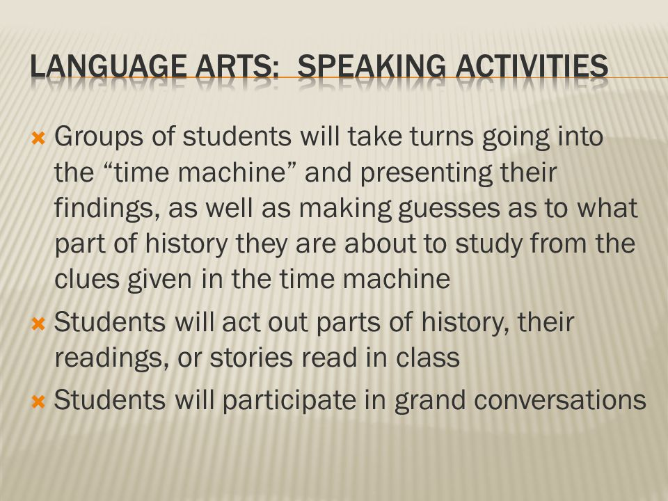 Students will listen to the teacher read stories, journal entries, and historical facts  Students will listen to each other  Time machine presentations  Personal writings such as their short stories and journal entries  Active listening during grand conversations  Students will listen to CDs provided by the teacher  Students will listen to pieces of music from different time periods