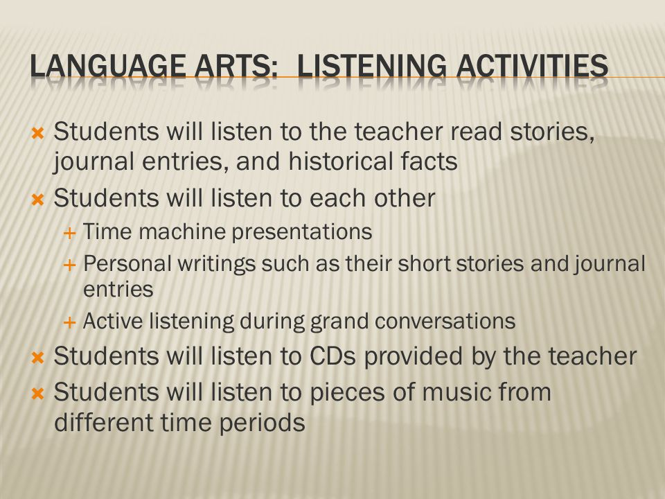  Students will view artwork from different times in history  Students will view photographs from more recent time periods  Students will view the time traveling word wall  Students will view the time machine and the items within it  Students will view the artwork made by their classmates  Students will view the performances of their classmates (reader's theater)