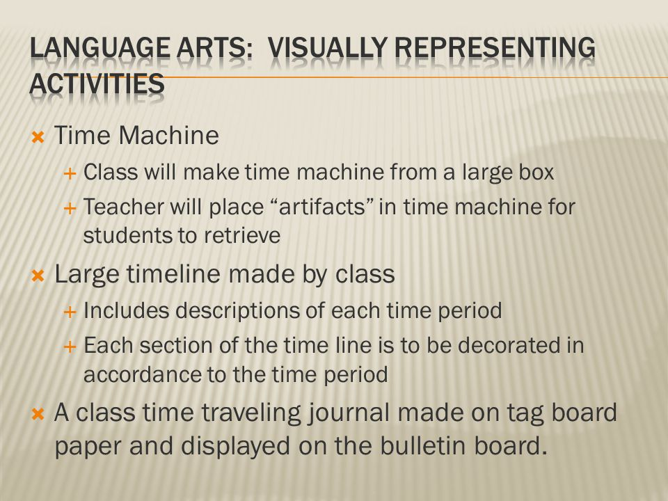  Time Machine  Class will make time machine from a large box  Teacher will place artifacts in time machine for students to retrieve  Large timeline made by class  Includes descriptions of each time period  Each section of the time line is to be decorated in accordance to the time period  A class time traveling journal made on tag board paper and displayed on the bulletin board.
