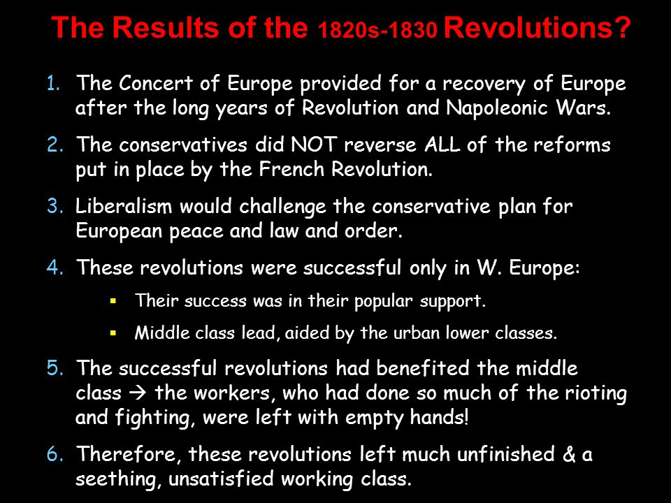 The Results of the 1820s-1830 Revolutions.