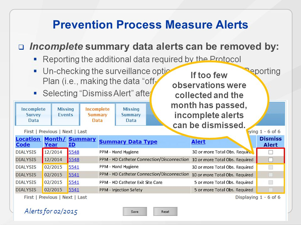 Prevention Process Measure Alerts  Incomplete summary data alerts can be removed by:  Reporting the additional data required by the Protocol  Un-checking the surveillance option from that Monthly Reporting Plan (i.e., making the data off-plan )  Selecting Dismiss Alert after the month has ended If too few observations were collected and the month has passed, incomplete alerts can be dismissed.